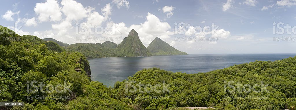Pitons of St. Lucia stock photo