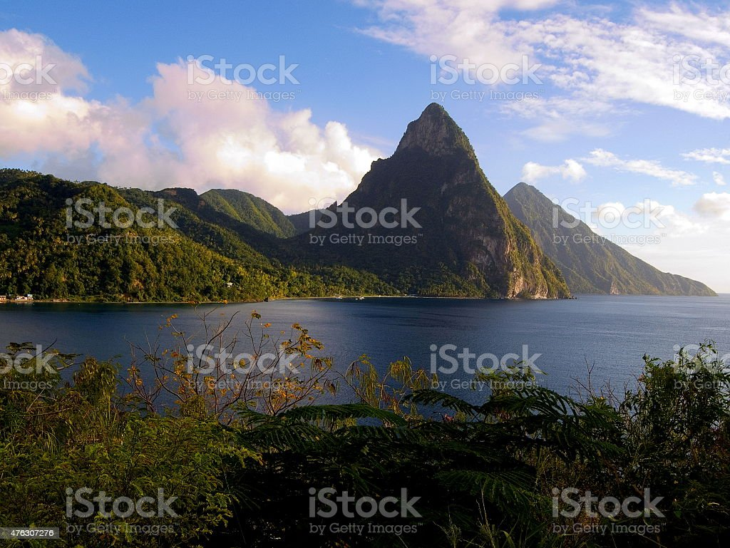 Pitons Saint Lucia Caribbean windward island stock photo