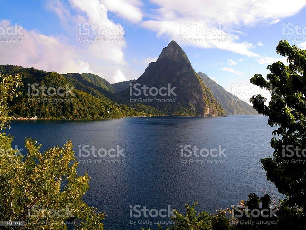 Pitons Saint Lucia Caribbean windward island stock photo