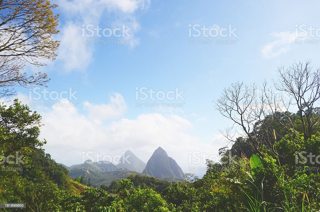 pitons st lucia royalty-free stock photo