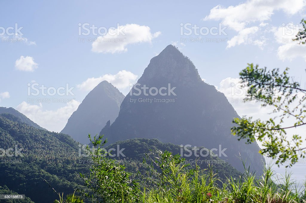 pitons st lucia stock photo