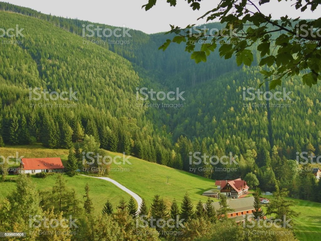 Pitoresque nature in the Krkonose mountains, Czech Republic stock photo