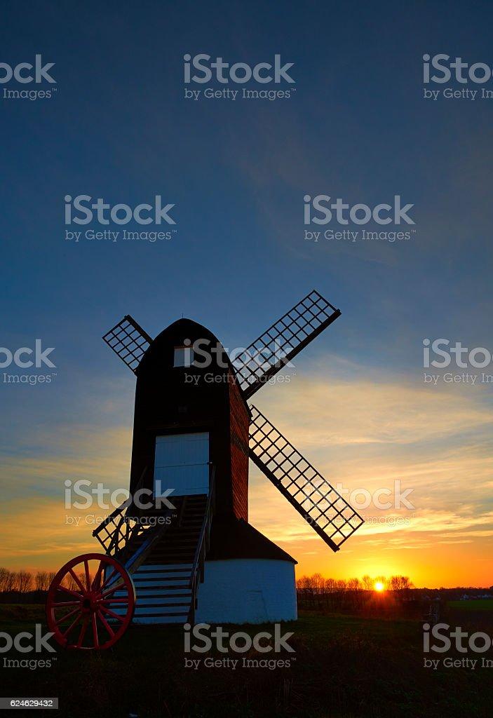Pitstone Windmill At Sunset stock photo