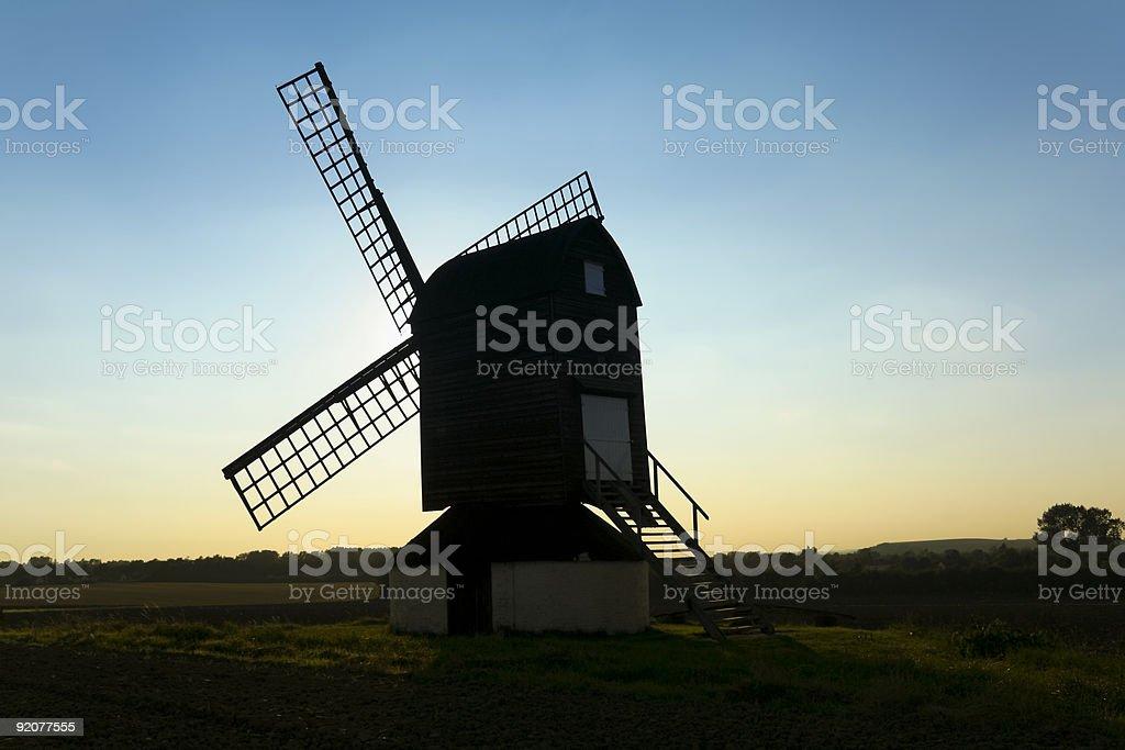 pitstone windmill sunset countryside hertfordshire uk royalty-free stock photo