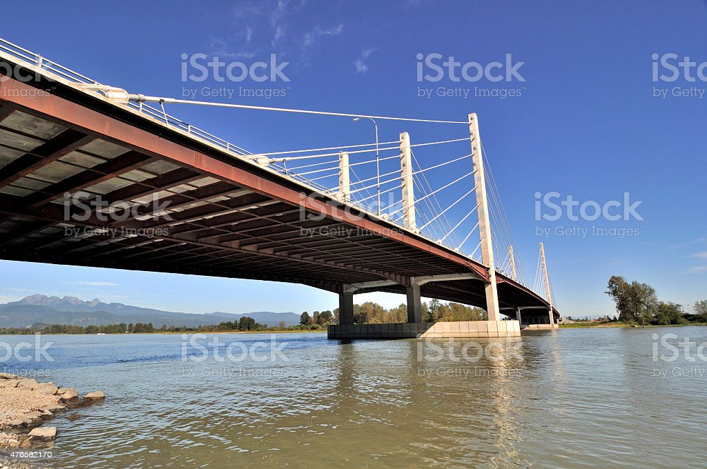 Pitt River Bridge in British Columbia stock photo