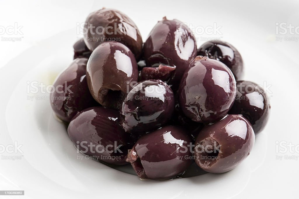 Pitted calamata olives stock photo