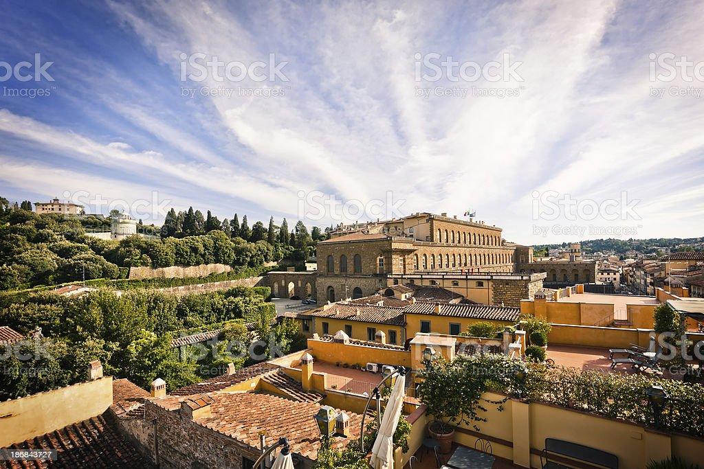 Pitti Palace with Boboli Gardens in Firenze, Italian Renaissance Architecture stock photo