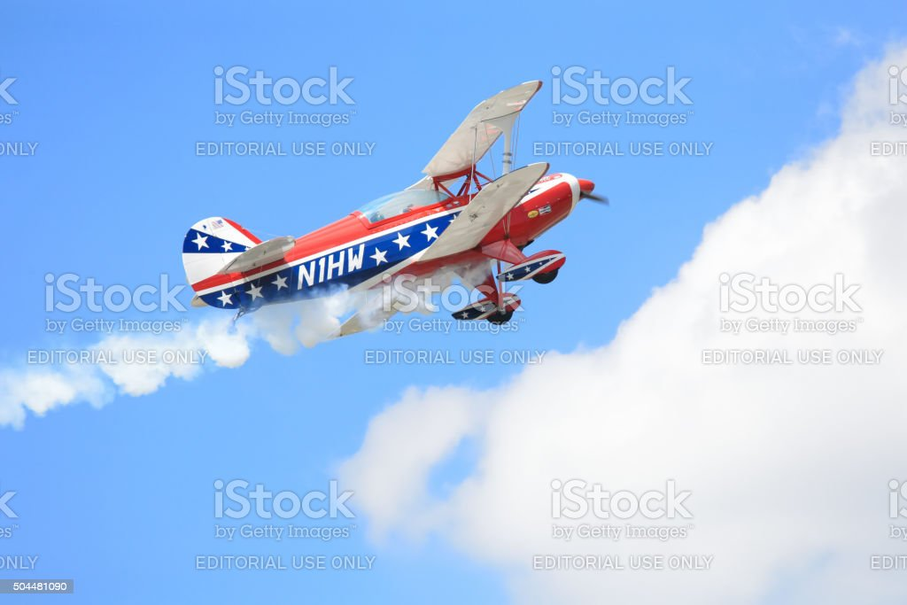 Pitts aircraft in action stock photo