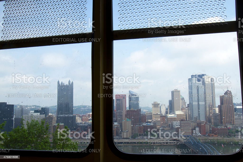 Pittsburg skyline from inside Monongahela Incline car stock photo