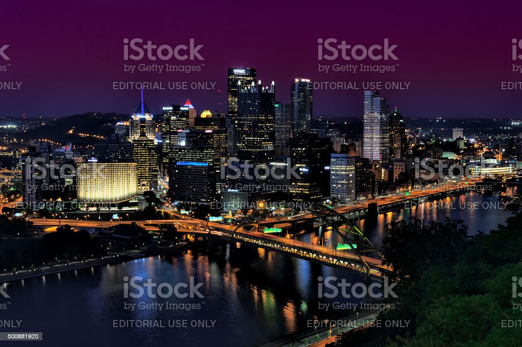 Pittsburgh at Night, High Angle Overlook View stock photo