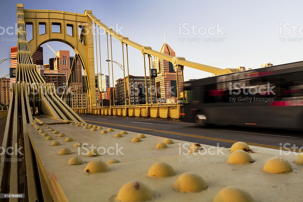 Pittsburgh Bridge and Bus stock photo