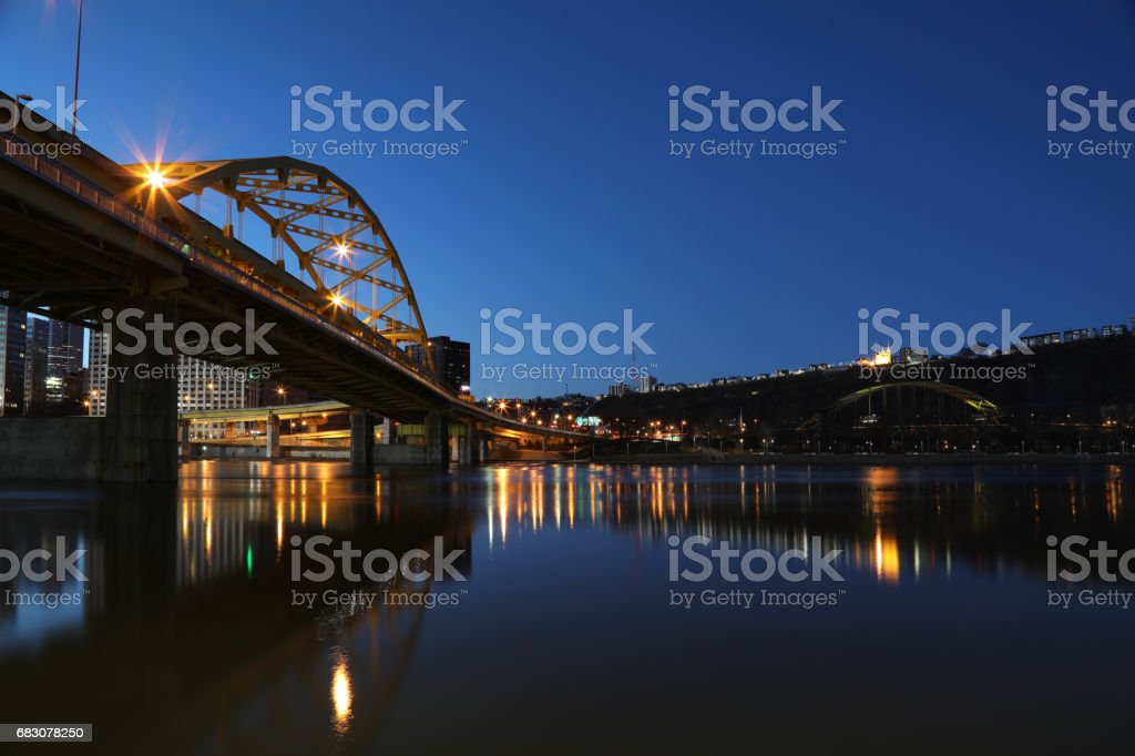 Pittsburgh Bridge at Dawn stock photo