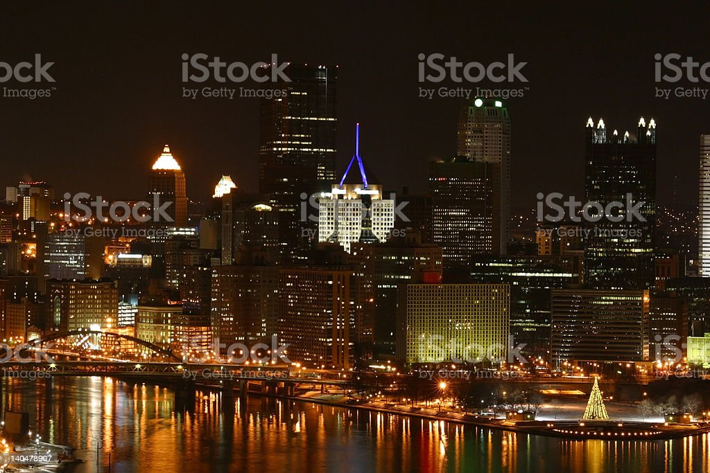 Pittsburgh Cityscape with Christmas Tree stock photo