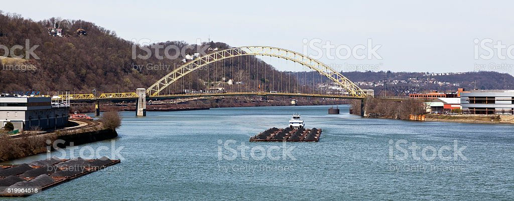 Pittsburgh Coal Barges on the Ohio River stock photo