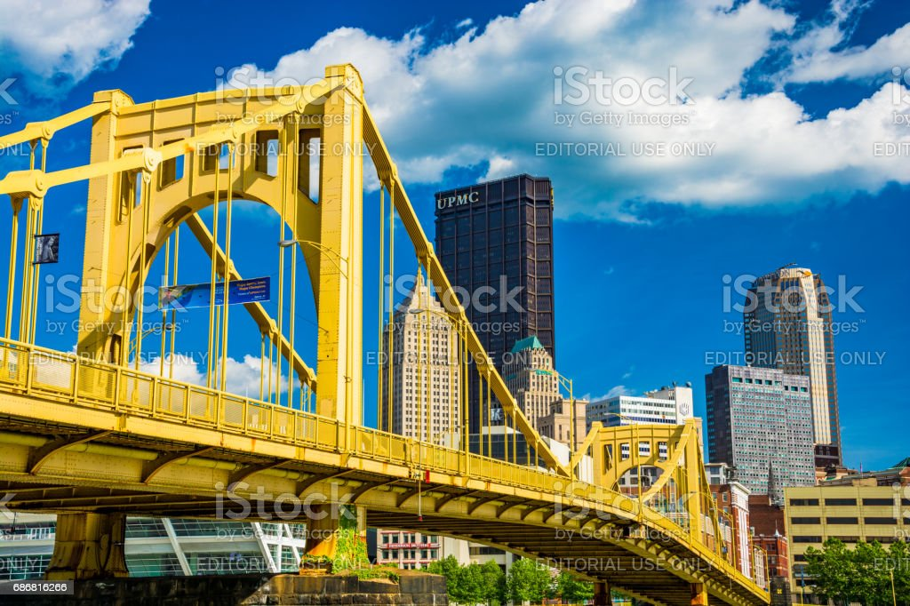 Pittsburgh Downtown with Yellow Bridge, Blue Sky and Clouds stock photo
