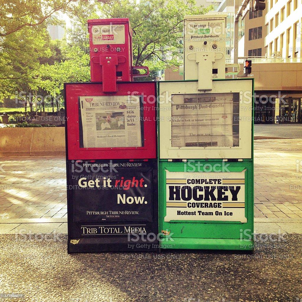 Pittsburgh Newspaper Vending Machines stock photo