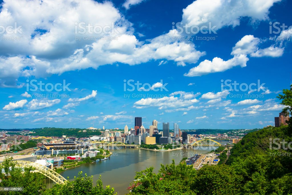 Pittsburgh Overview with Two Rivers, Bridges, and Blue Sky with Clouds stock photo