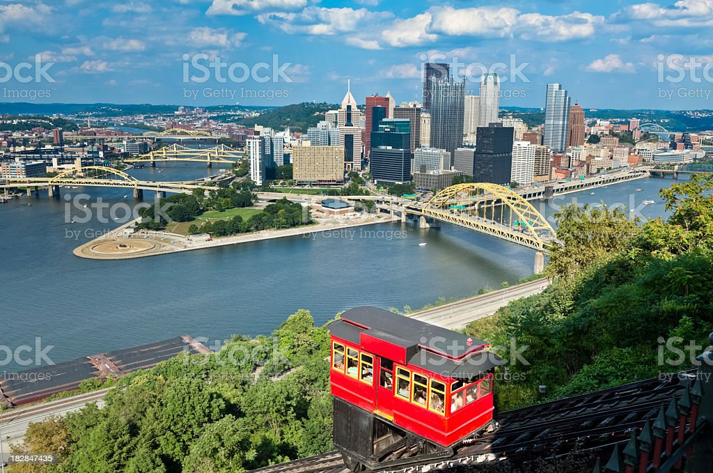 Pittsburgh, Pennsylvania and Duquesne Incline With Bright Red Cablecar stock photo