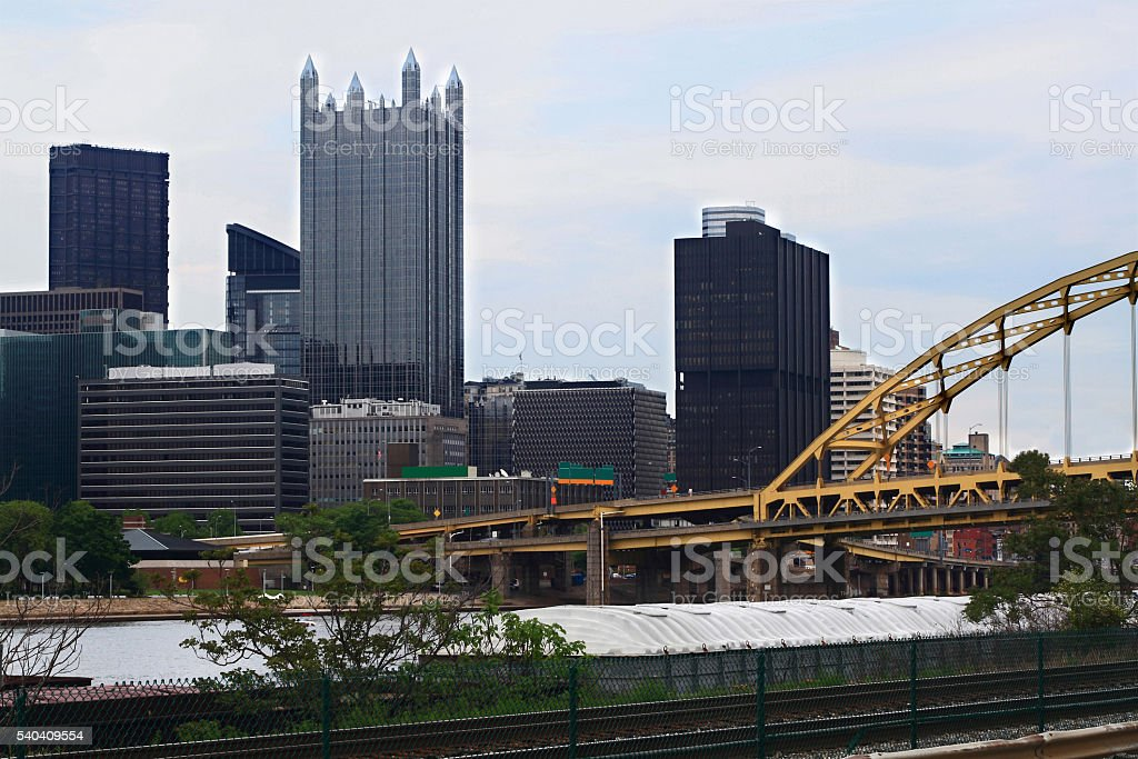 Pittsburgh Pennsylvania Downtown skyline in cloudy afternoon stock photo