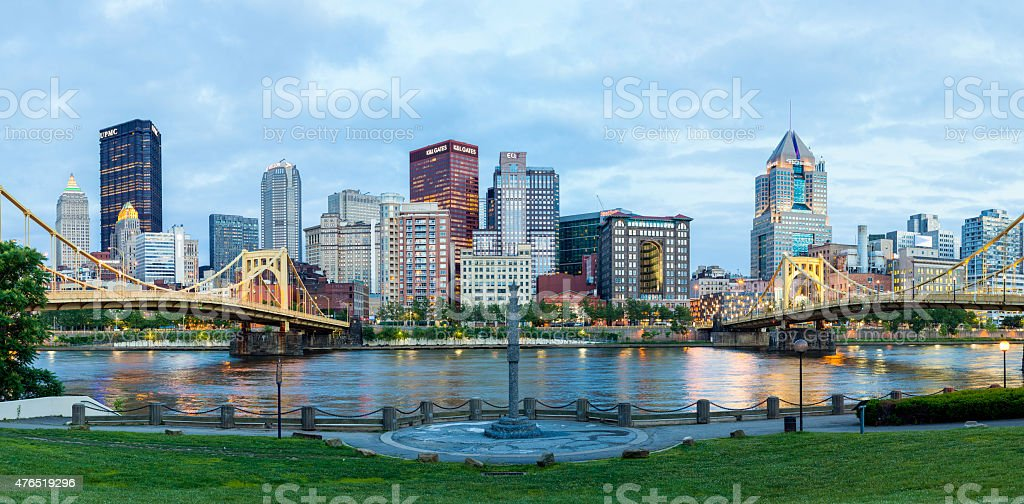 Pittsburgh, Pennsylvania Lit Up stock photo
