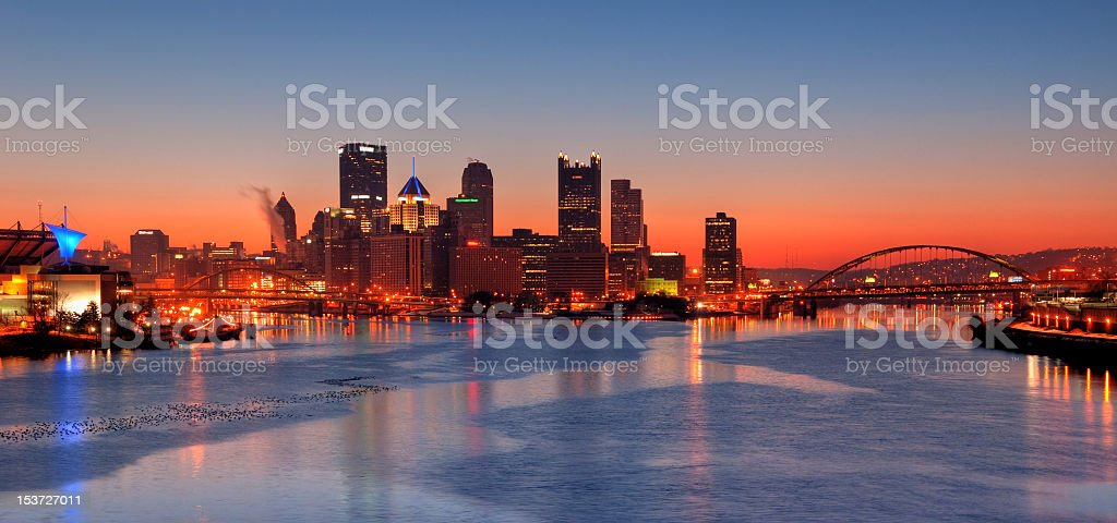 Pittsburgh Pennsylvania Skyline at Sunrise stock photo