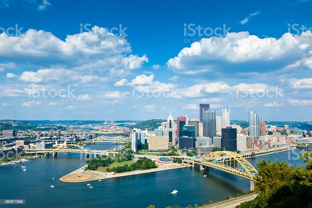 Pittsburgh, Pennsylvania Skyline With Allegheny and Monongahela Rivers stock photo
