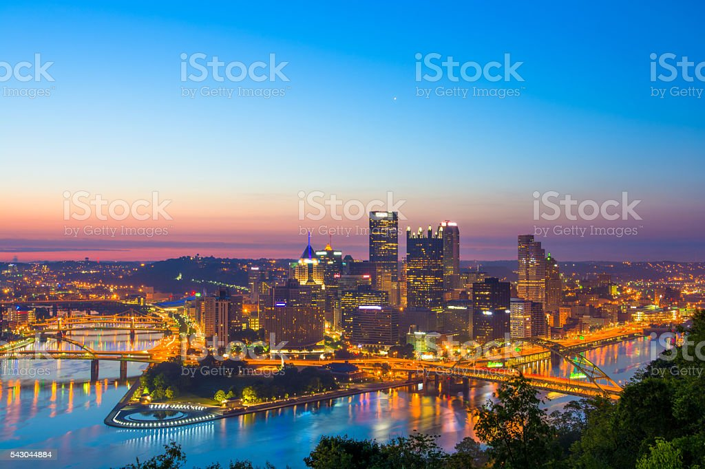 Pittsburgh Skyline Aerial with Rivers at Dawn stock photo