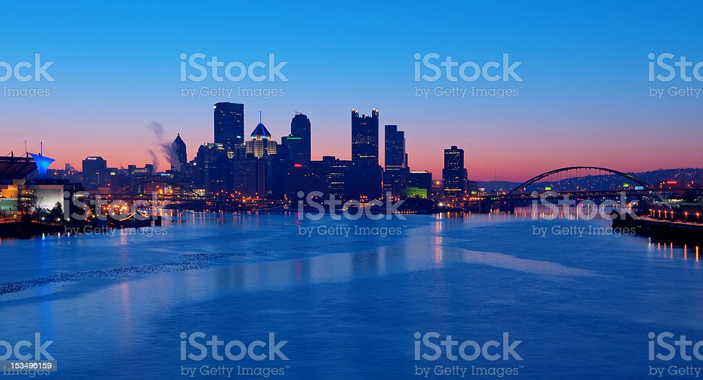 Pittsburgh Skyline at Sunrise stock photo
