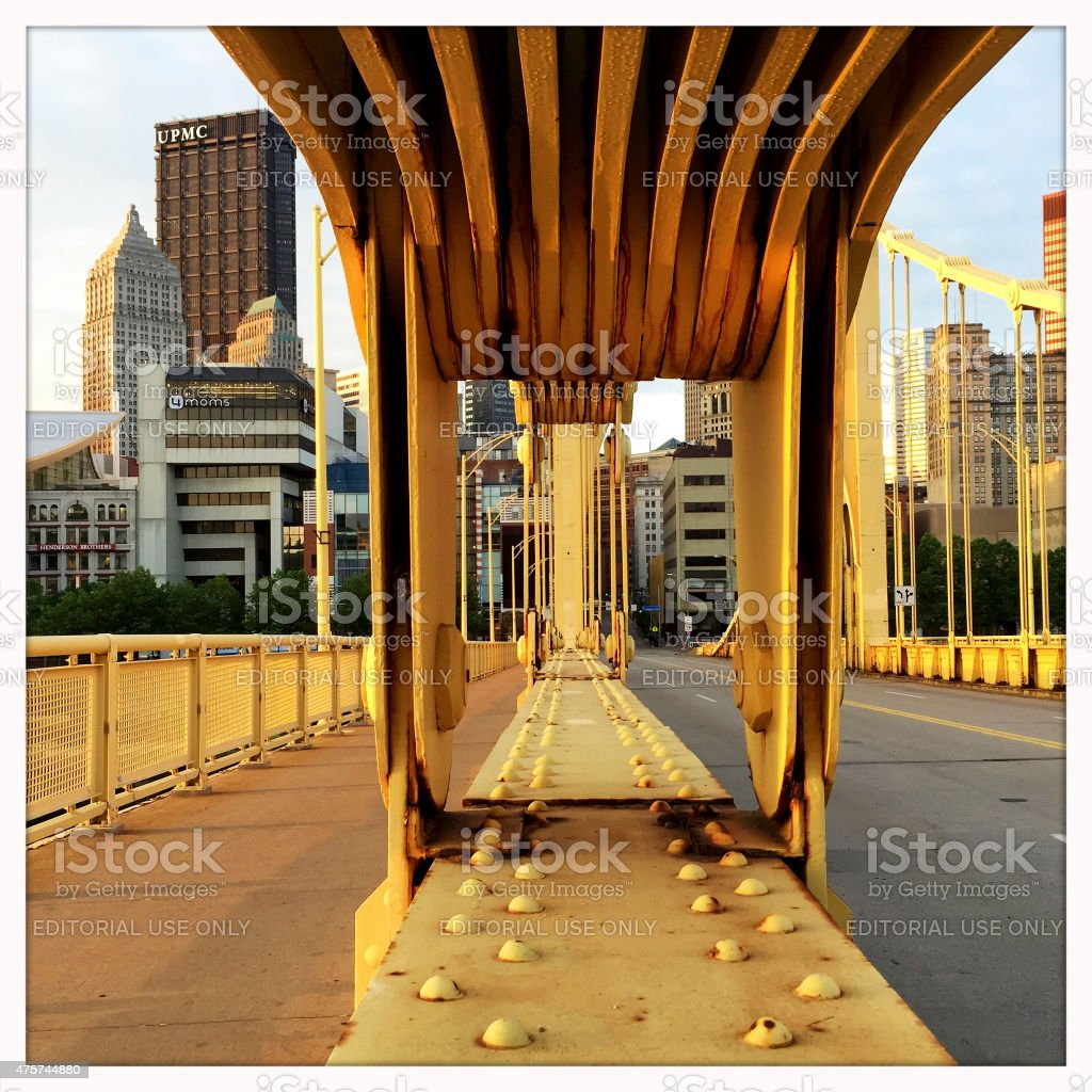 Pittsburgh Skyline from NInth Street Bridge stock photo