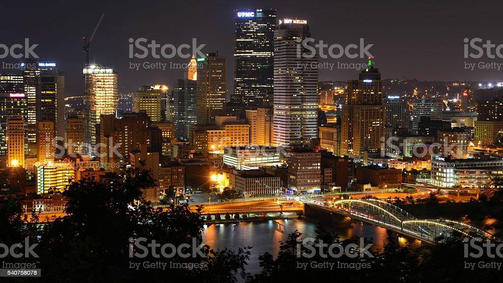 Pittsburgh Skyline, Mount Washington stock photo