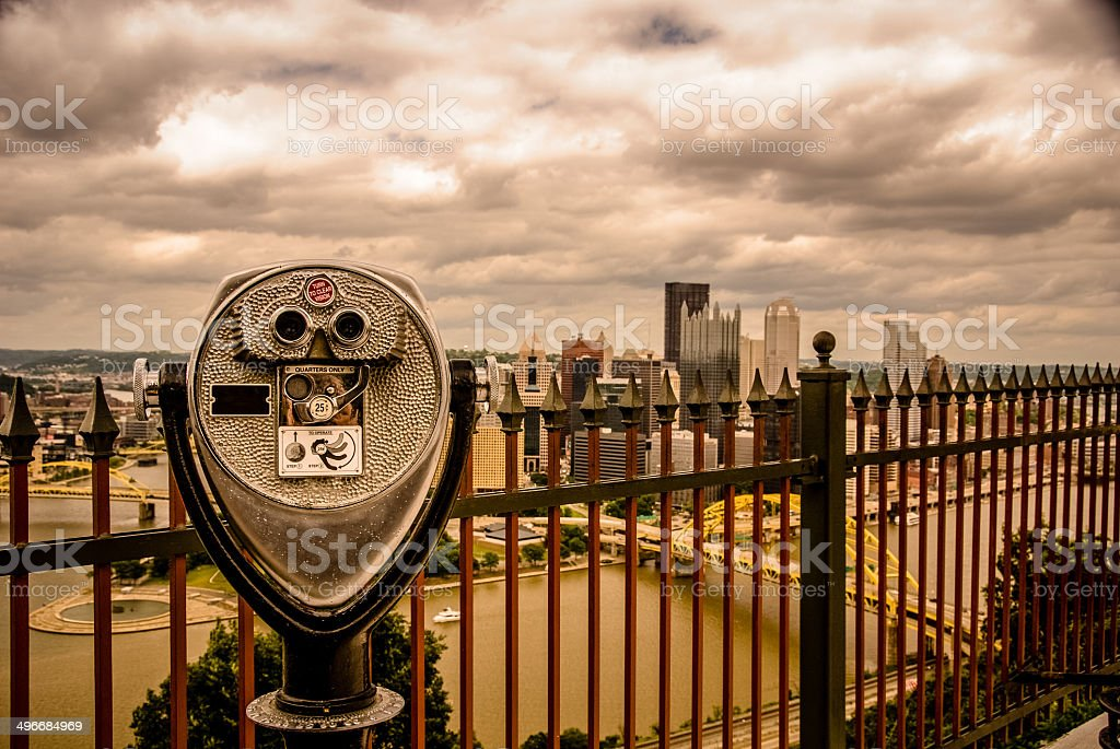 Pittsburgh Skyline with Viewfinder stock photo