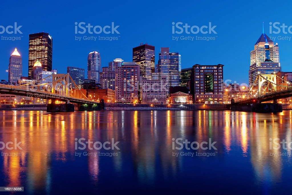 Pittsburgh Skyline with water view at night with clear sky stock photo