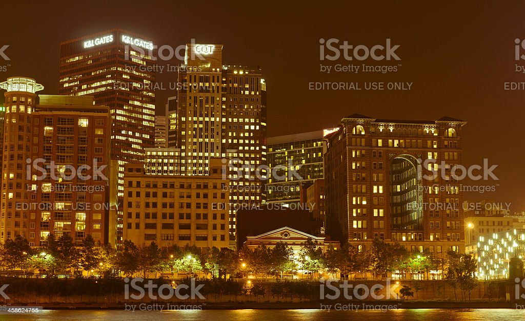 Pittsburgh view by night stock photo