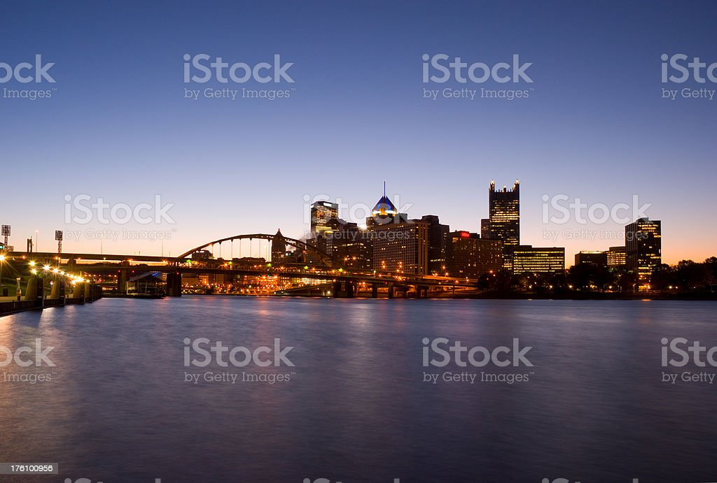 Pittsburgh waterfront skyline at Dawn stock photo