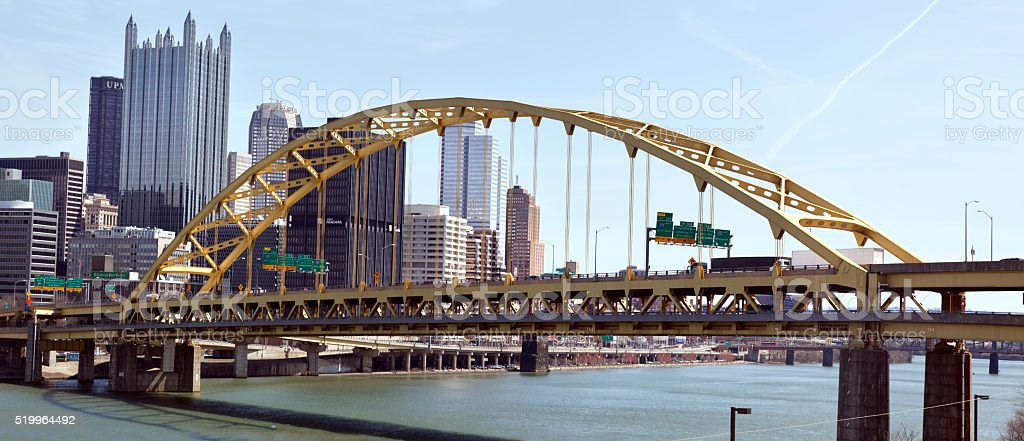Pittsburgh's Fort Pitt Bridge stock photo