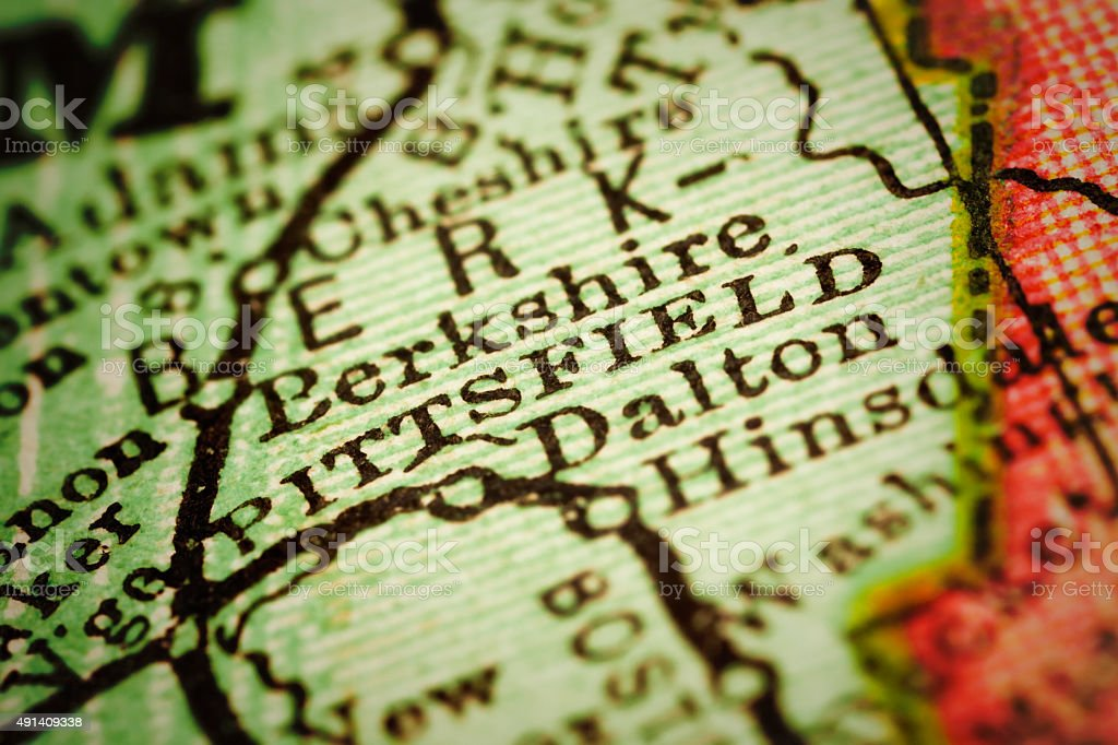 Pittsfield, Massachusets on an Antique map stock photo