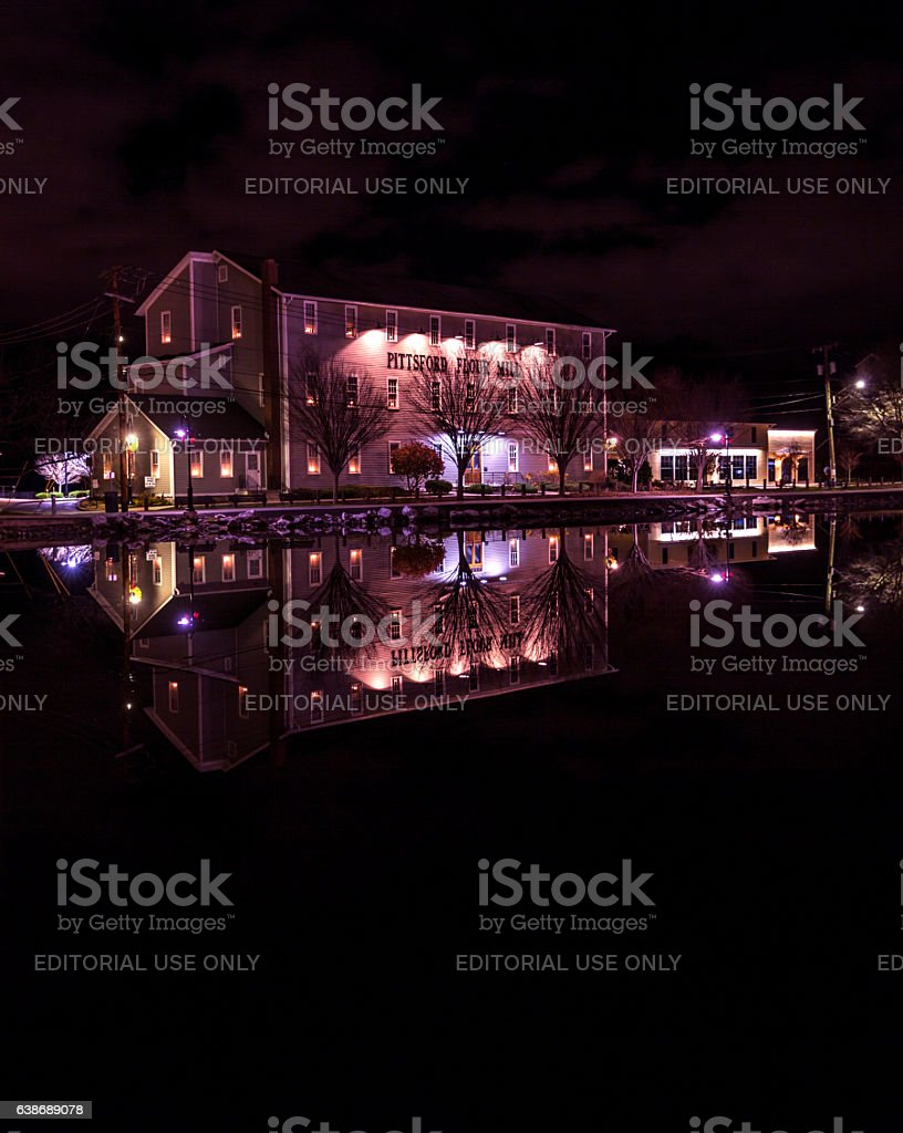 Pittsford Flour Mill Office Building - 5AM - Pittsford NY stock photo