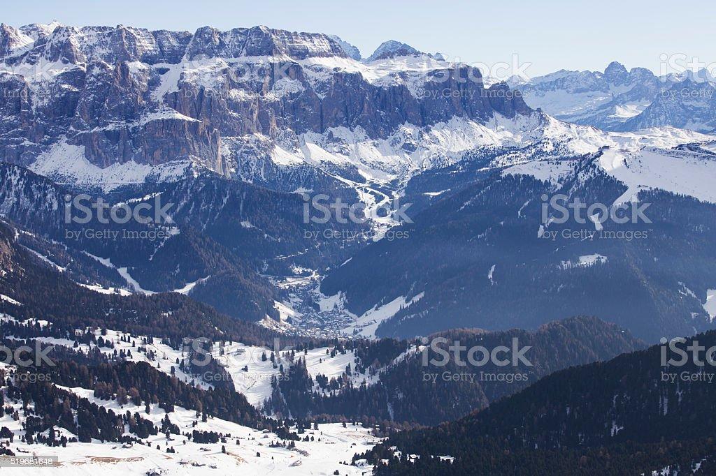 Pitz Boe mountain covered in snow, Dolomites, Italy stock photo