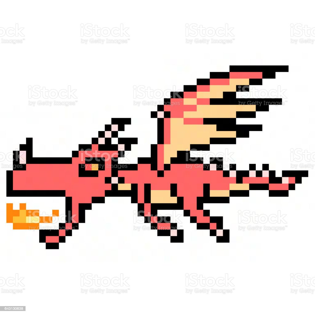 pixel art dragon stock photo