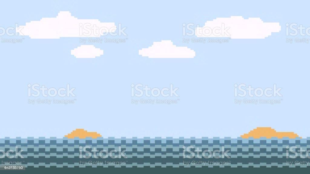 pixel art ocean sky stock photo