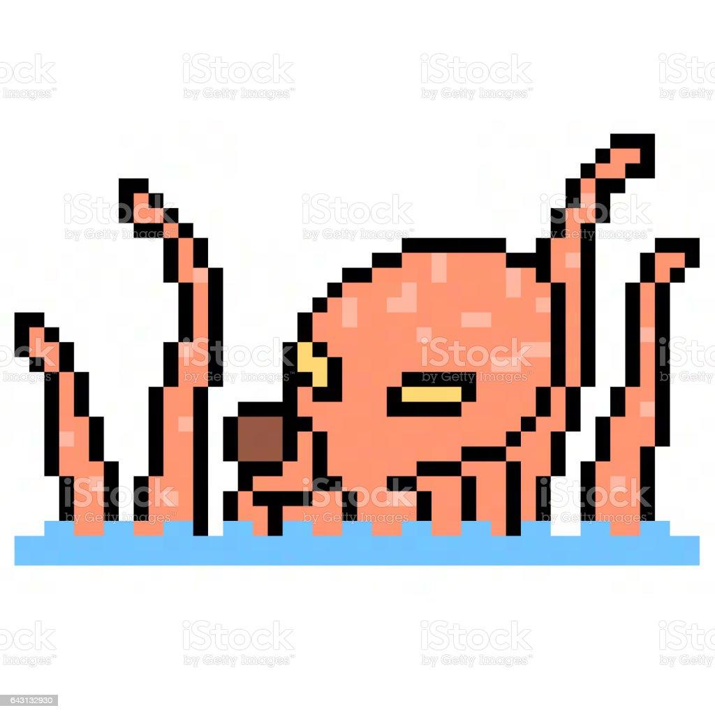 pixel art octopus kraken stock photo
