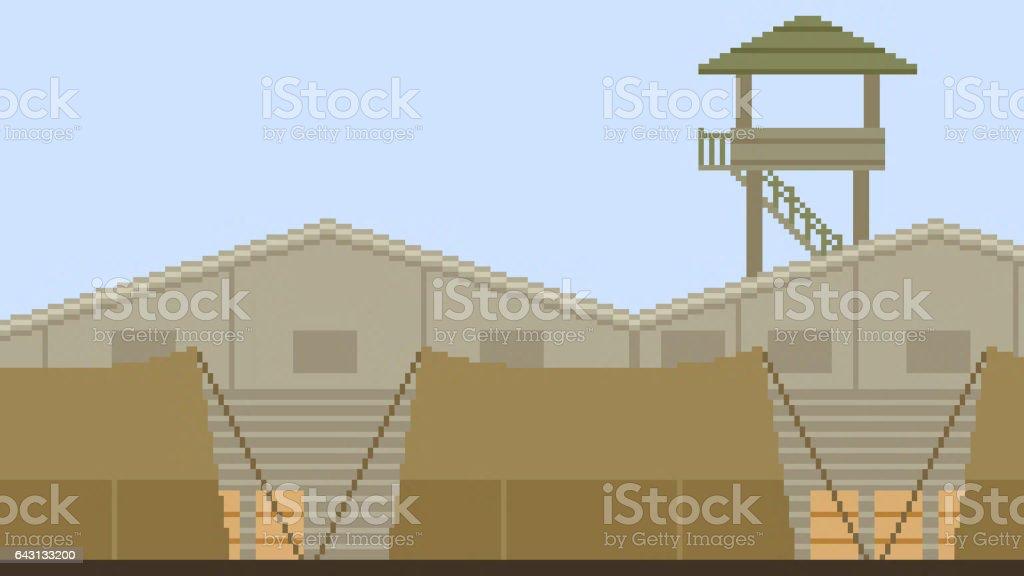 pixel art soldier camp stock photo