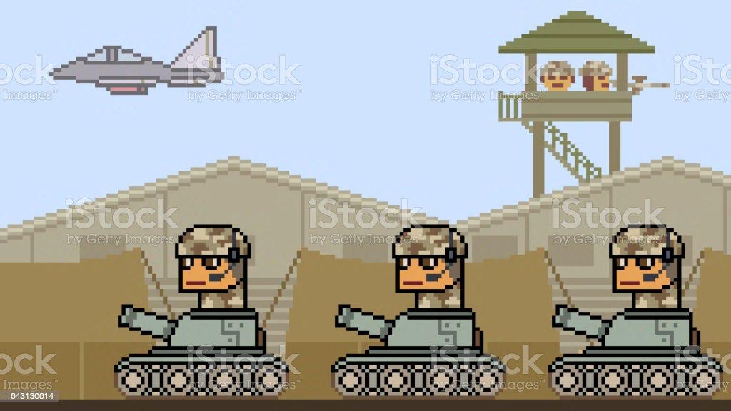 pixel art tank army stock photo