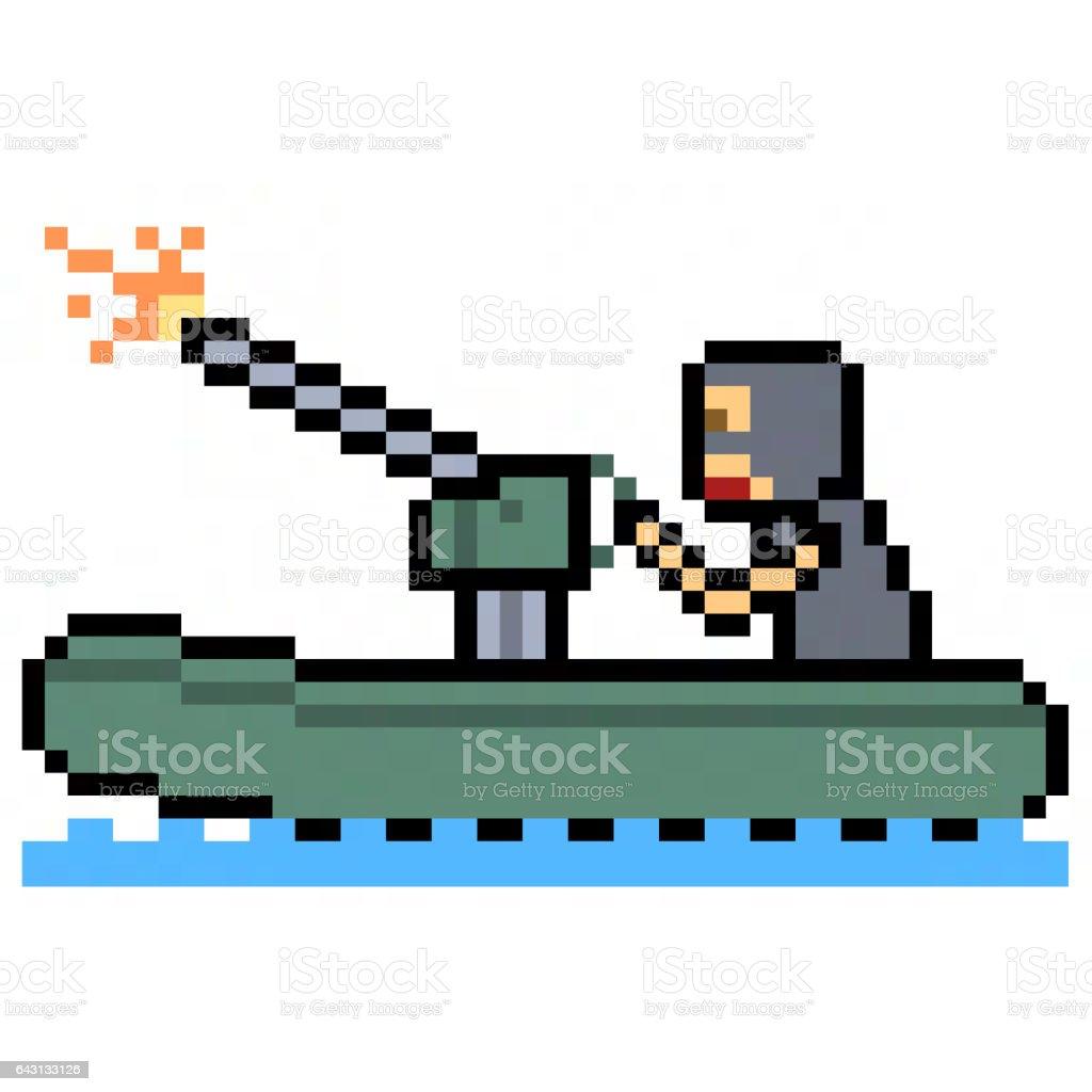 pixel art terrorist boat stock photo
