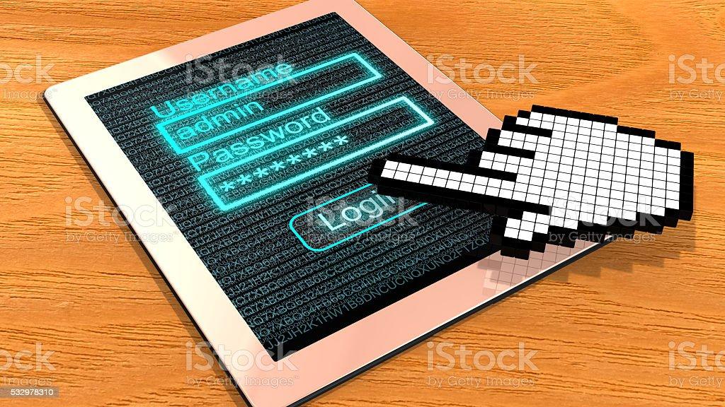 Pixel cursor login tablet stock photo