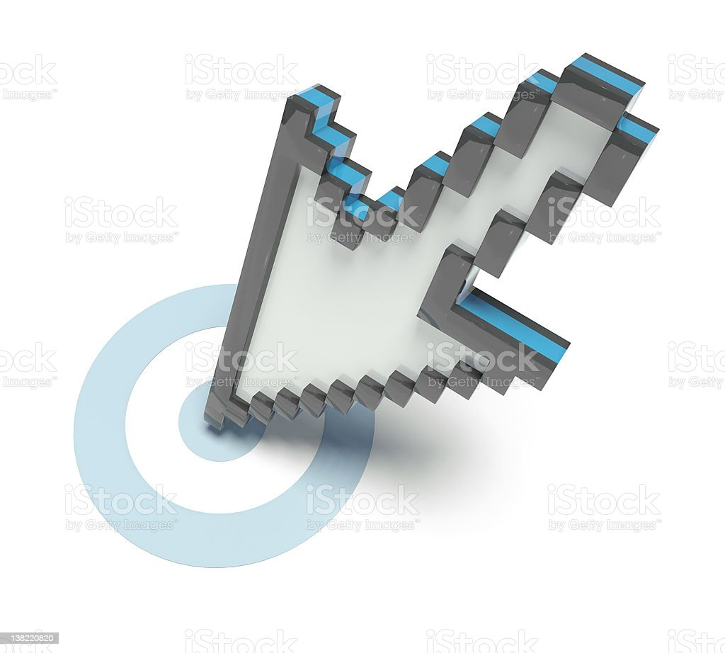 3D pixel cursor on aim stock photo