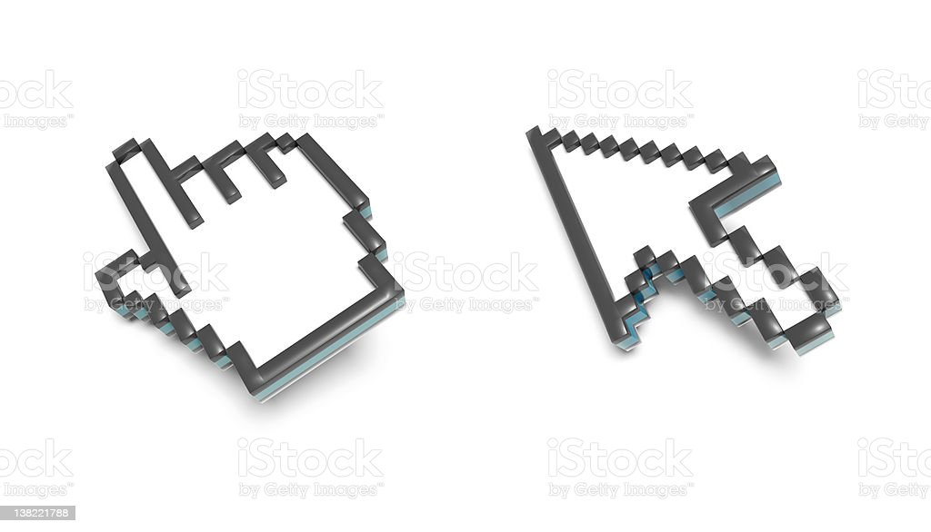 3D pixel cursors stock photo
