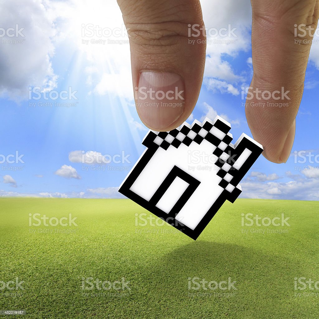 pixel house icon royalty-free stock photo