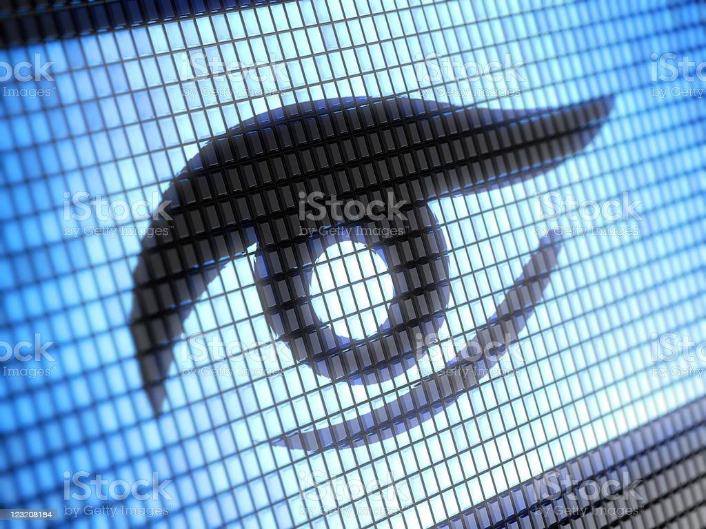 Pixel image of vector shaped eye stock photo