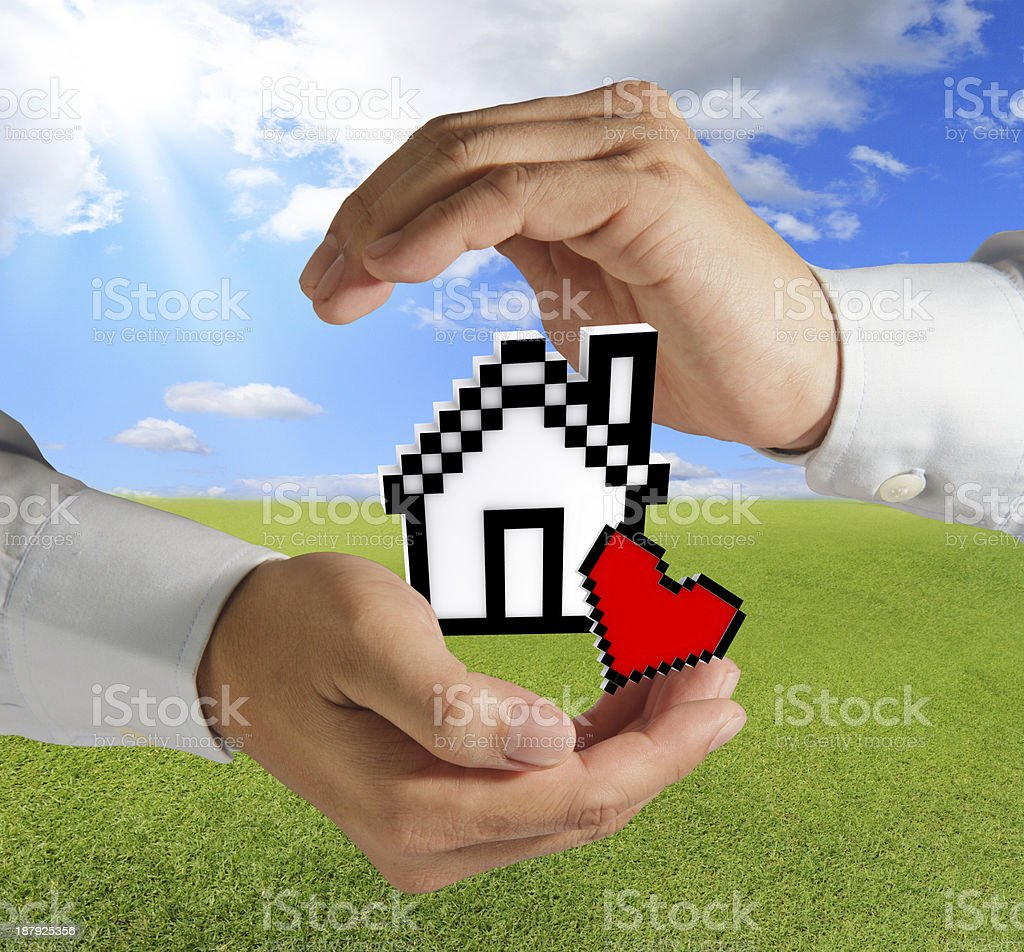 pixel love house royalty-free stock photo